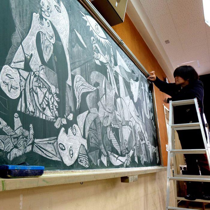 Рисунки мелом на школьной доске