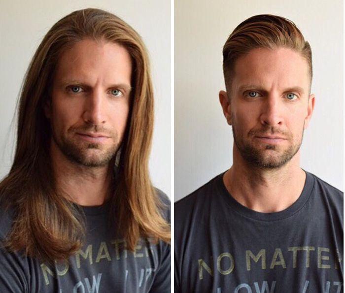 Мужчины до похода в парикмахерскую и после (18 фото)