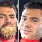 Мужчины с бородой и без нее (18 фото)