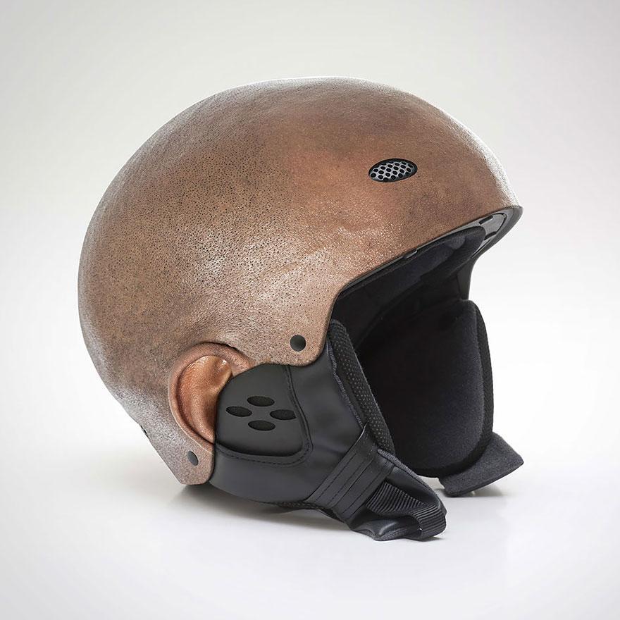 Шлем, как реальная бритая человеческая голова (5 фото)