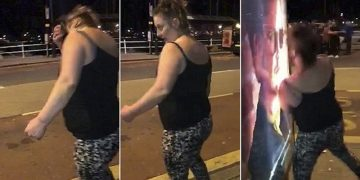 Пьяная англичанка бьется головой об рекламный щит (9фото+1видео)
