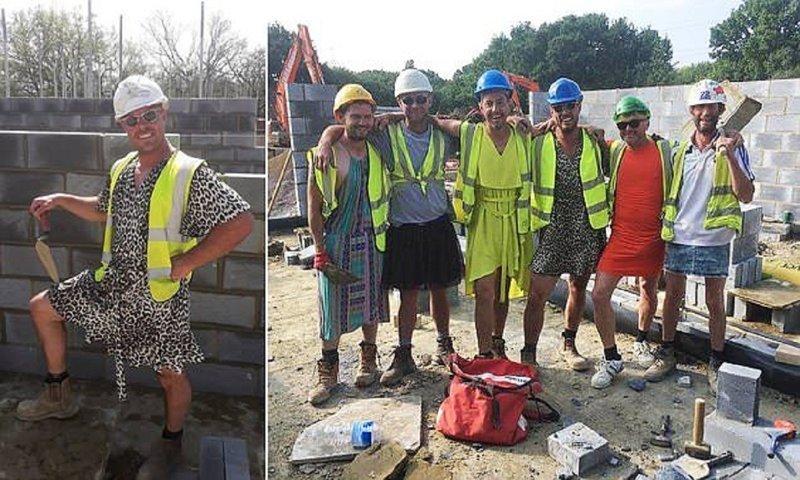 Каменщики нашли оригинальную замену запрещенным шортам (4фото)