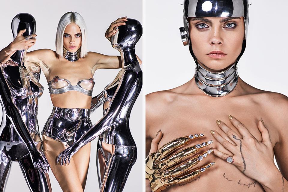 Кара Делевинь позирует для модного мужского журнала в серебряном нижнем белье