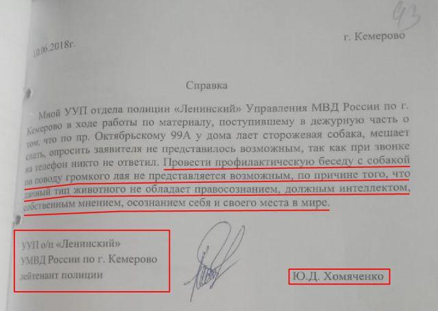 Участковый в Кемерово составил рапорт, который удивил всех (2 фото)