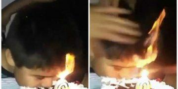 Ребенок решил откусить от торта не задув свечку (3фото+1видео)