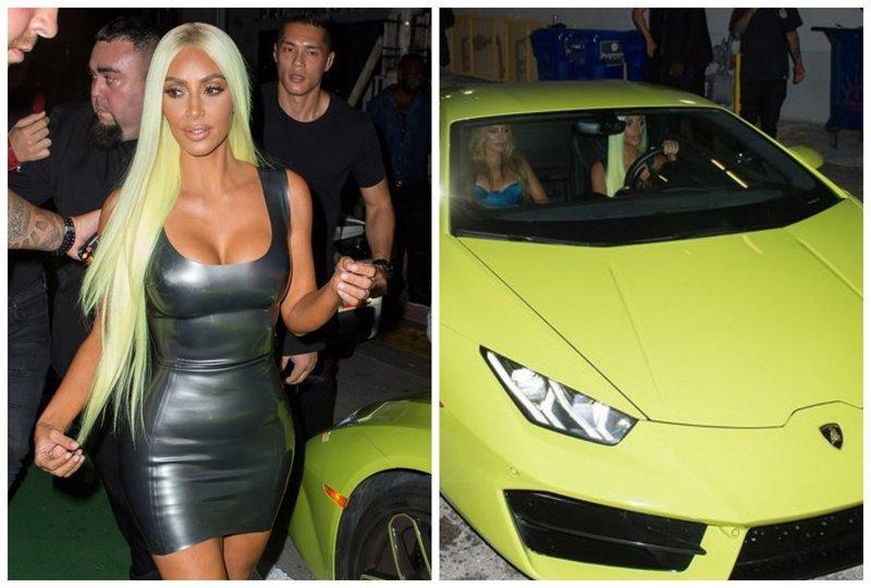 Ким Кардашьян перекрасилась в цвет своего нового Lamborgini, чем шокировала поклонников (8фото)