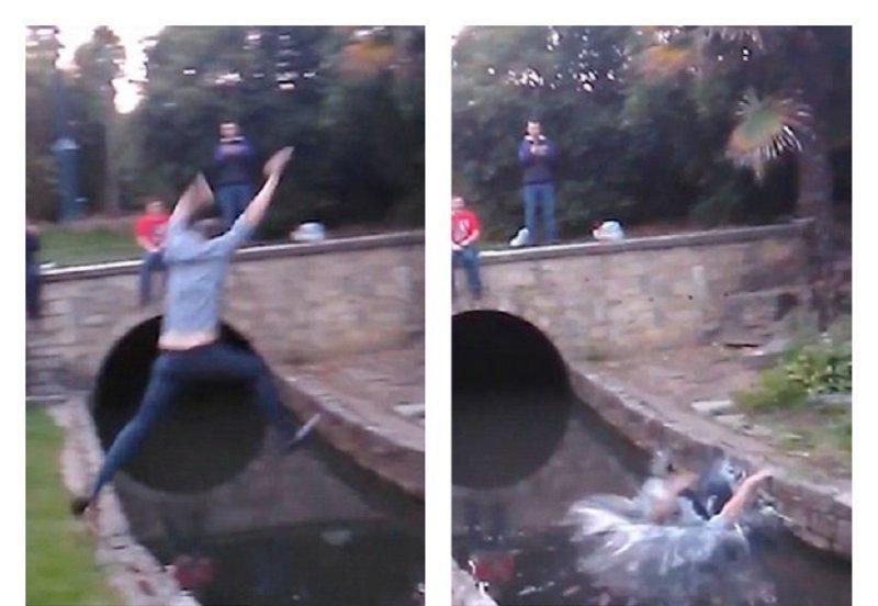 Пьяный англичанин повеселил друзей головокружительным трюком (5фото+1видео)