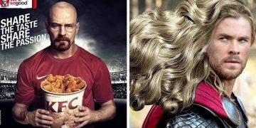 Как выглядела бы реклама ведущих брендов, появись в ней известные персонажи кино (21фото)