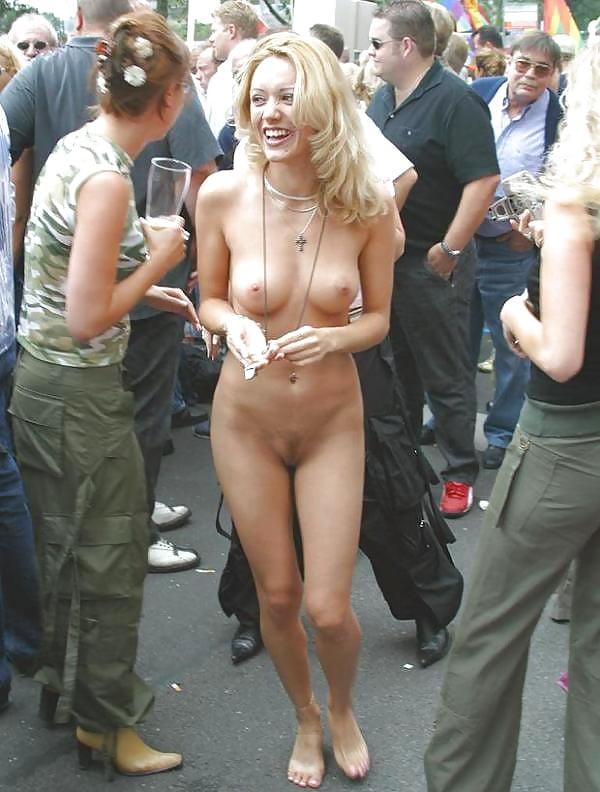 Girls strip in public, cum on blonde pretty face porn