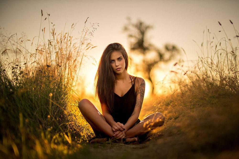 На закате в поле