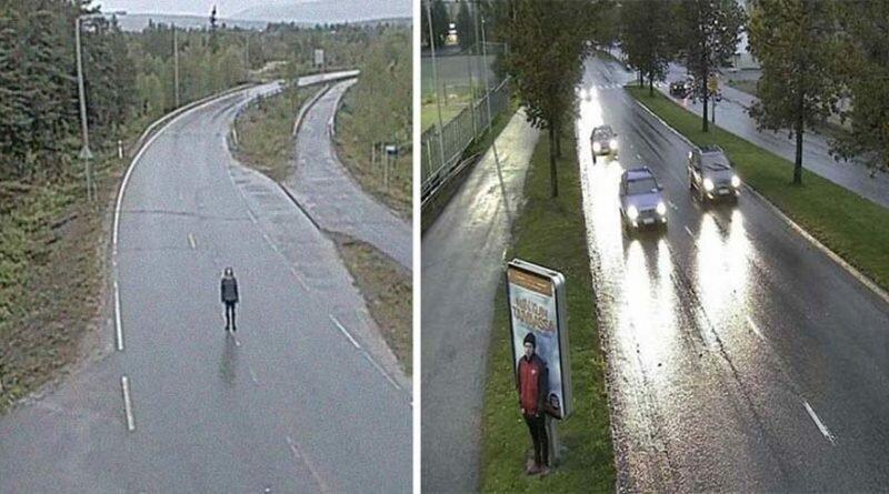 У парня странное хобби, он фотографируется на уличные камеры и получает тревожные снимки (22фото)